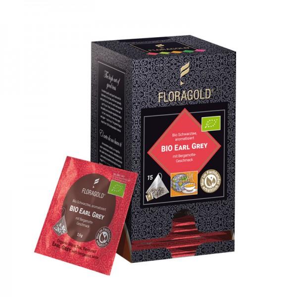 Bio Earl Grey Schwarztee aromatisiert mit Bergamotte-Geschmack 15 Pyramidenbeutel von  FLORAPHARM®