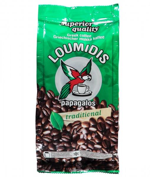 Loumidis Papagalos 100g feinst gemahlener Griechischer Mokka Kaffee