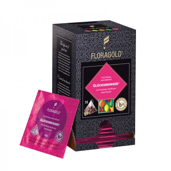 Glücksbringer® -  15 Pyramidenbeutel Früchtetee aromatisiert mit Himbeer-Aprikose-Geschmack