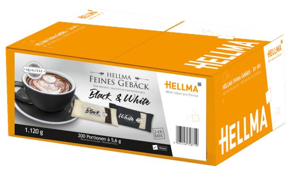 Kekse Black & White von HELLMA 200 Stück mit Kakao- oder Vanillegeschmack