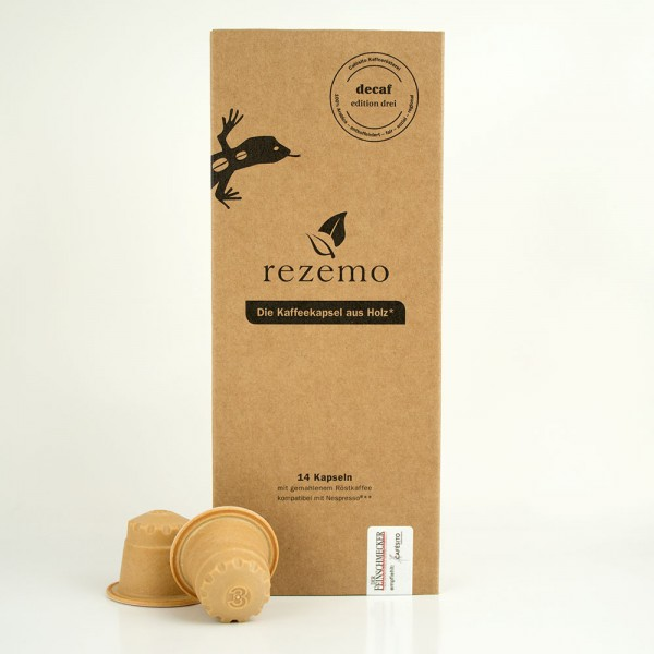 rezemo Kaffeekapsel aus Holz Nespresso® kompatibel - decaf edition drei koffeinfrei