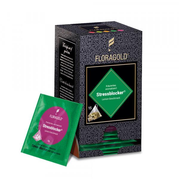 Kräutertee aromatisiert Stressblocker Floragold® von FLORAPHARM® in der Schmuckschachtel