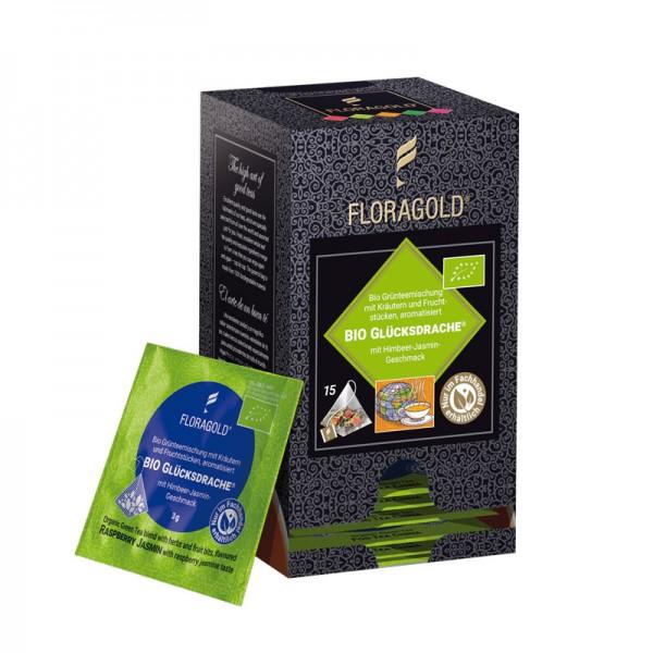 Bio Glücksdrache® 15 Pyramidenbeutel Bio Grünteemischung mit Kräutern und Fruchtstücken von Florapha
